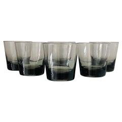 Set of Six Scandinavian Modern Smoked Grey Cocktail Glasses, c. 1960's