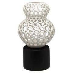 Pierced White Ceramic Sculpture/Vessel Lizette