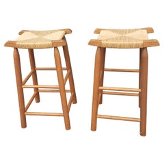 1950s Solid Maple and Rush Seat Counter Stools Bar Stools, a Pair