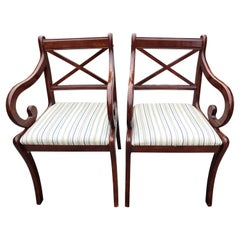 1980s Vintage Regency Mahogany Upholstered Arm Chairs, a Pair