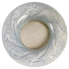 1920 René Lalique Sirenes Coupe Bowl Frosted Glass & Blue Patina, Mermaids