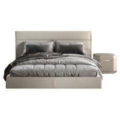 Guilty Bed Polished Steel Frame White Bouclé Fabric