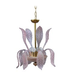 Round Italian Murano Chandelier Pink Gold Color 1970s Leaves Flowers