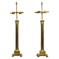 Pair of Elegant 19th Century French Empire Style Bronze Column Table Lamps