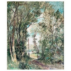 """Frank William Boggs Also Called WILL Franck """"Forest of Thoméry"""" Watercolor"""