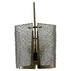 J.T. Kalmar Laterne Glass Chandelier, Austria 1960s