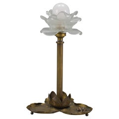 French Art Nouveau Brass Table Lamp with Frog, 1930s