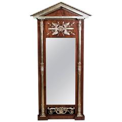 Early 19th Century Baltic Neoclassical Parcel Gilt Mahogany Pier Mirror