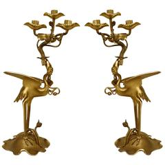 Pair of 19th Century English Regency Bronze Doré Heron Candelabra