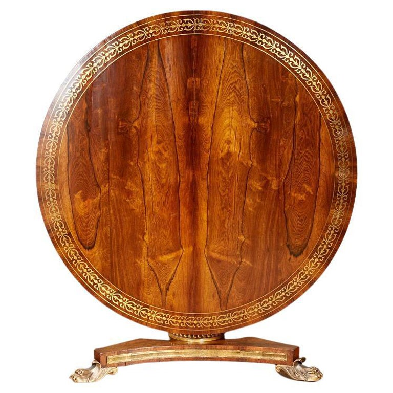 Regency Brass Inlaid Center Table