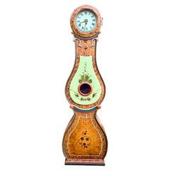 Antique Mora Clock Swedish Fryksdall Folk Art Kurbits 1800s Gustavian 200cm