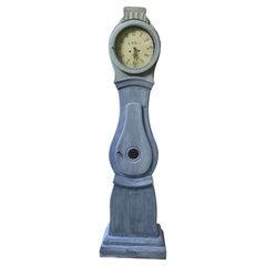 Antique Mora Clock Swedish 1800s Antique Blue C M Bjorn Gustavian  197cm
