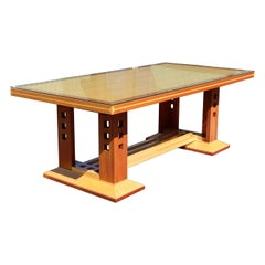 Contemporary Modern Charles Phipps Custom Made Dining Table Memphis 1990s Glass