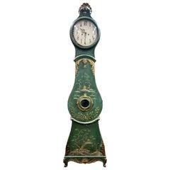 Antique Mora Clock Swedish Chinoiserie Green Gold Late 1700s Gustavian Rococo