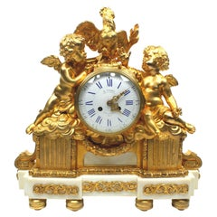 French 19th Century Louis XV Style Gilt Bronze Cherubs & Rooster Mantel Clock