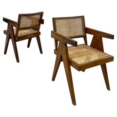 Pair of Mid-Century Modern Pierre Jeanneret Office Chairs Authentic