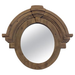 Round Wood Mirror with Heavy Frame