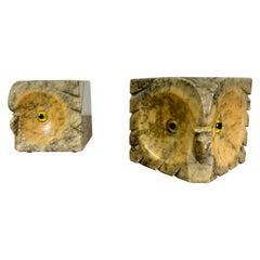Italian Alabaster Owl Bookends