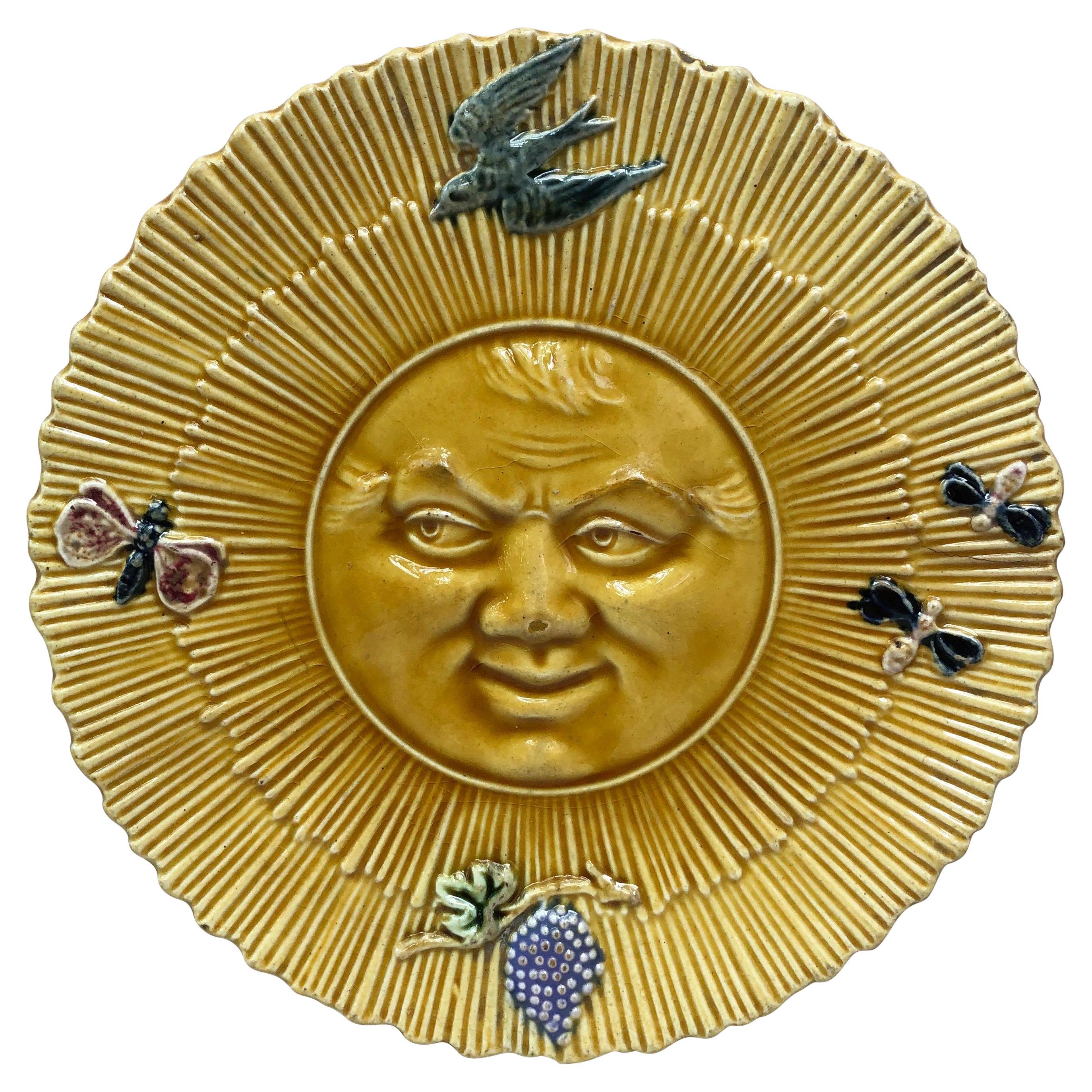 French Majolica Sun Wall Plate, circa 1880