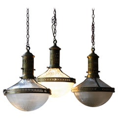 Early 20thC Trio Large French Brass Glass Holophane Lanterns Lights, 3 Available
