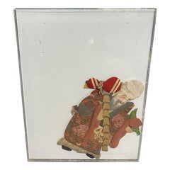 Japanese Asian Oshie Pressed Textile Old Monk Framed Shadow Puppet Doll