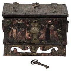 17th Century Nuremberg, German Iron Strongbox Jewels Casket