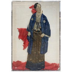 Japanese Oshie Pressed Textile Samurai Framed Showa Shadow Puppet Doll