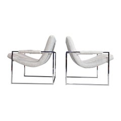 Milo Baughman Scoop Chairs in Holly Hunt Performance Fabric