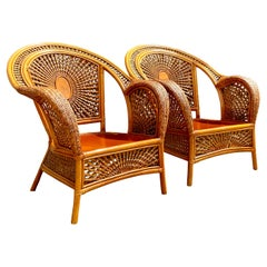 Vintage Coastal Woven Rattan Spider Wed Lounge Chairs, a Pair