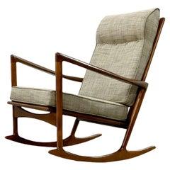 Ib Kofod Larsen Rocking Chair, Midcentury Danish Modern Sculpted Rocker