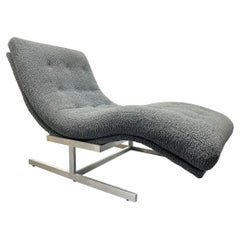 Milo Baughman Style Wave Chaise Lounge