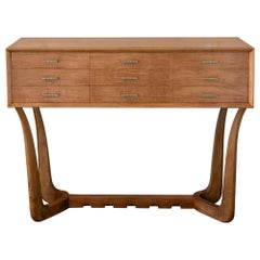 1940's Italian Console/Chest of Drawers Walnut and Maple Wood, Brass Details