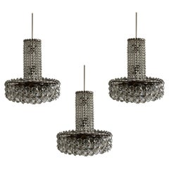 Bakalowits Crystal Chandelier from the Swedish Embassy Vienna, Set of 3, 1960s
