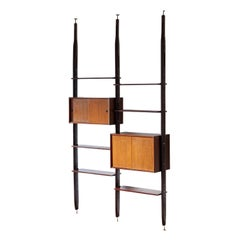 Floor to Ceiling Wall Unit, Exotic Wood, 1950s Italian Modern Design