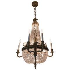 Wonderful French Dore Bronze Crystal Basket Cherub Putti Louis XVI Chandelier