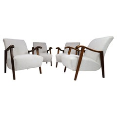 Set/4 French Sculptural Armchairs in Oak and Reupholstered in Boucle Wool Fabric
