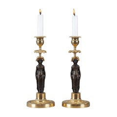 Pair of Candlesticks in Patinated and Gilded Bronze