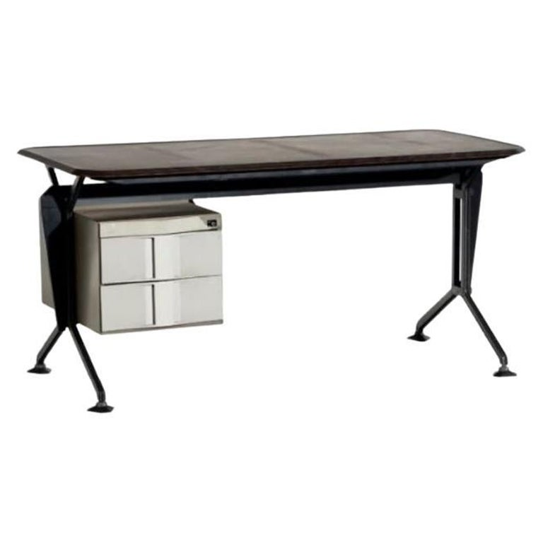Studio BBPR Arco Writing Desk in Metal and Wood for Olivetti Synthesis 1960s
