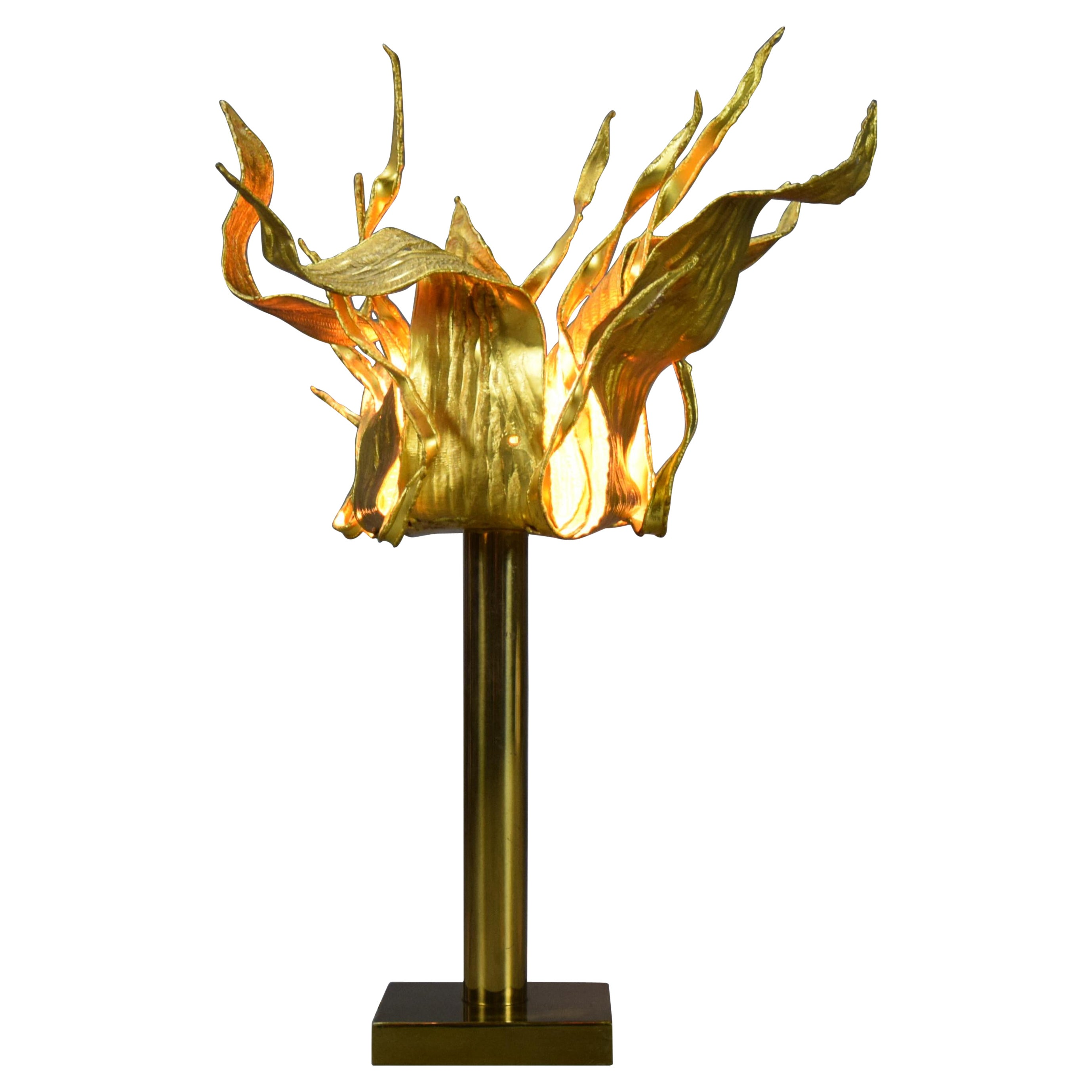One of a Kind Gilded Bronze 1970 Table Lamp