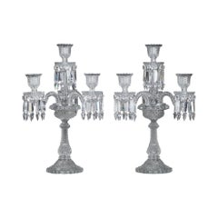Pair of Baccarat Candelabras in Molded Crystal with Four Lights