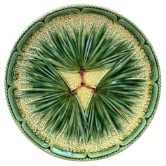 French Majolica Palm Plate Sarreguemines, circa 1870