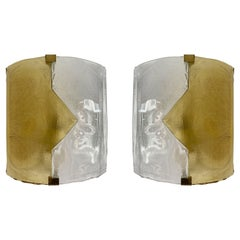 Pair of Yellow Murano Glass Arrow Sconces by Mazzega, Itay, 1970s