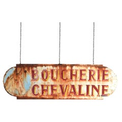 Early 20th Century Double Sided French Butchers Trade Sign