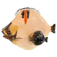 Mid-Century Modern Italian Glazed Ceramic Fish Sculpture by Ivo De Santis
