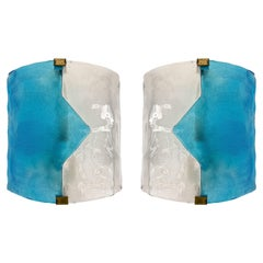 Pair of Blue Murano Glass Arrow Sconces by Mazzega. Itay, 1970s