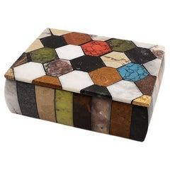 Colorful Semi Precious Stone Rectangular Jewelry or Trinket Box with Lid
