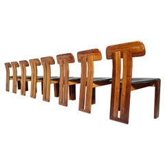 Set of 8 Dining Chairs by Sapporo for Mobil Girgi, Italy, 1970s