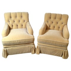 Late 20th Century Pair of Fawn Colored Mohair Club Chairs with Tufted Backs
