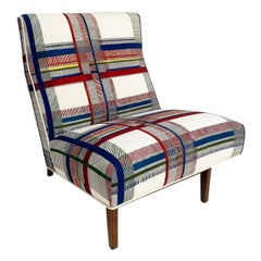 One of a Kind Vintage Jens Risom Slipper Chair in Hermès Wool, One Available