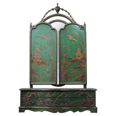 19th Century Emerald Green Chinoiserie Country House Dressing Table Mirror